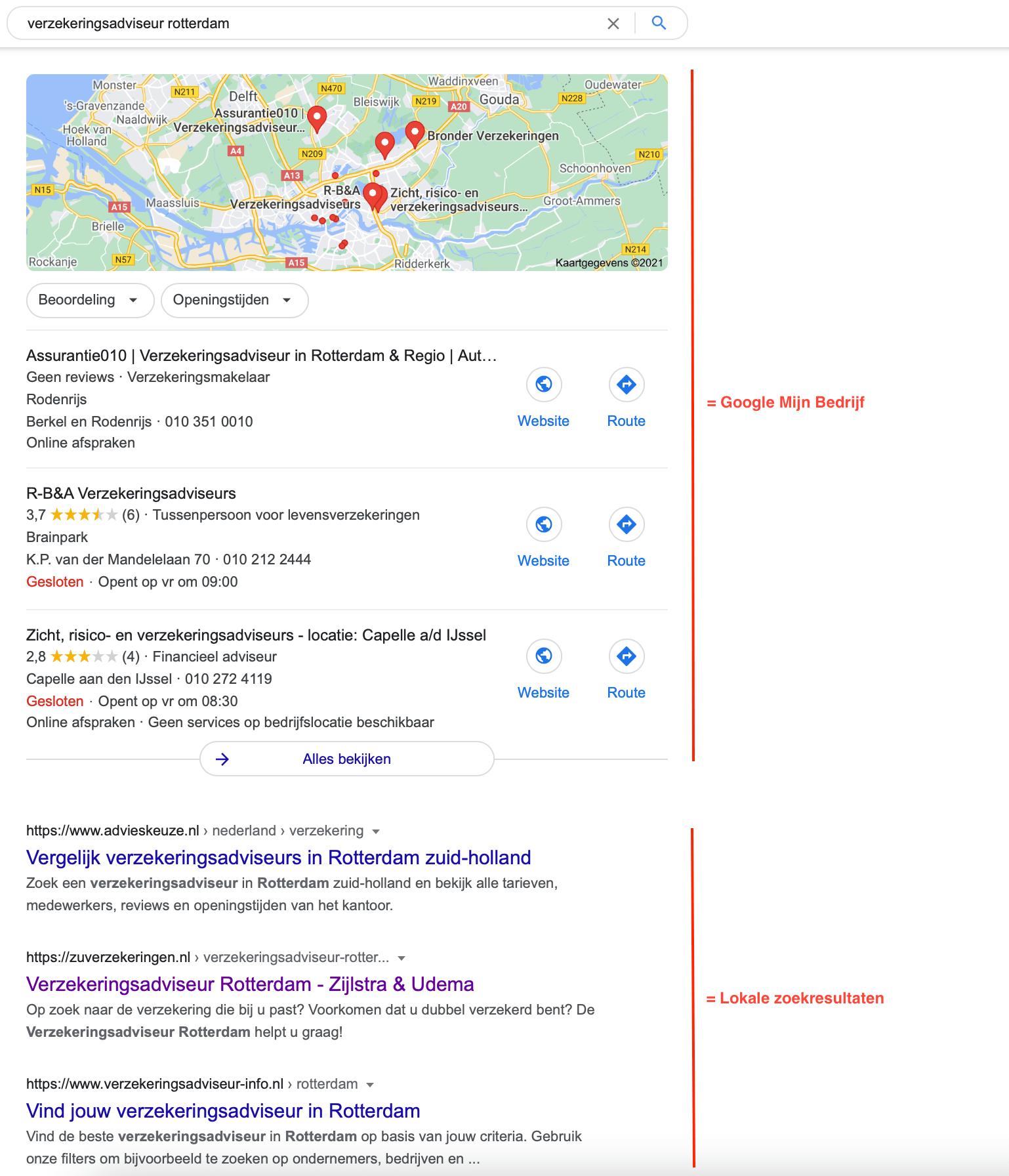 Local SEO zoekresultaten